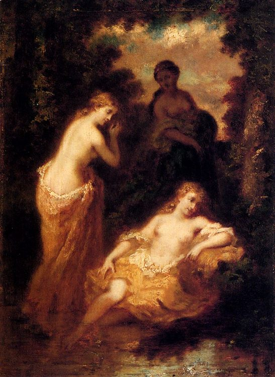 Nymphs In The Forest Fontainbleau :: Narcisse-Virgile Dhaz de la Peka - nu art in mythology painting ôîòî