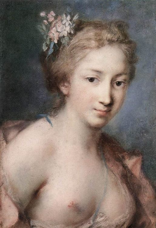 Flora Pastel on paper :: Rosalba Carriera - nu art in mythology painting ôîòî