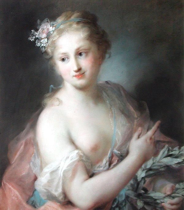 Nymph from Apollos Retinue :: Rosalba Carriera - nu art in mythology painting фото