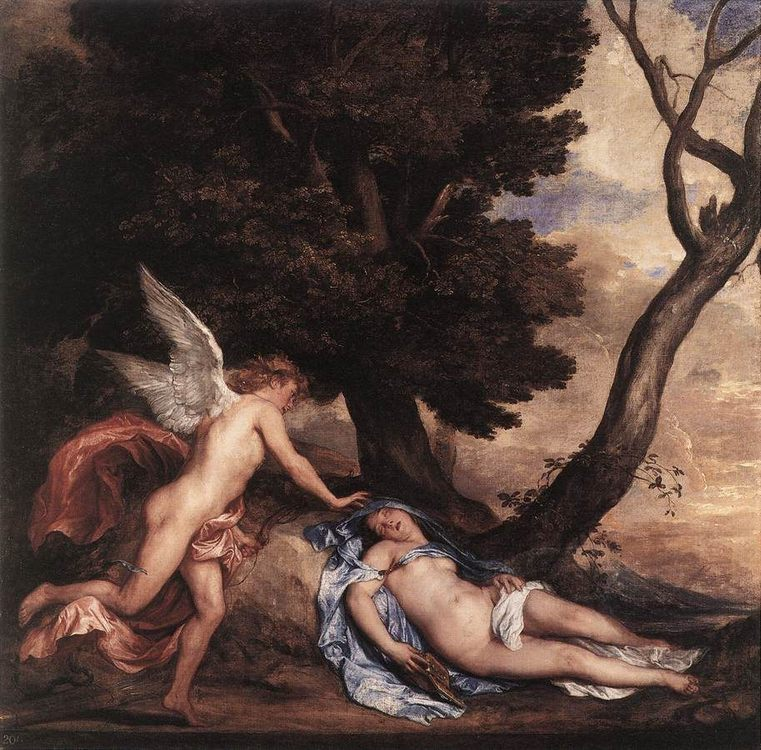 Cupid and Psyche :: Sir Antony van Dyck - nu art in mythology painting фото