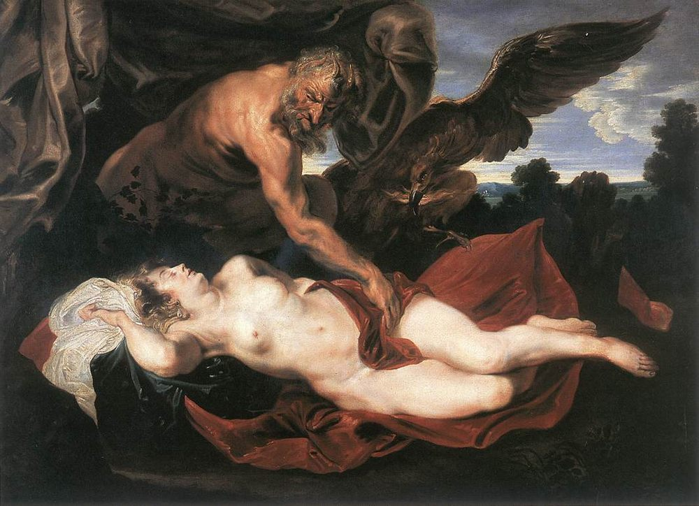 Jupiter and Antiope :: Sir Antony van Dyck - nu art in mythology painting фото