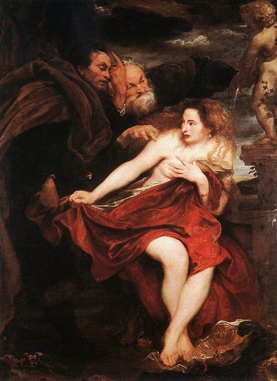 Susanna and the Elders :: Sir Antony van Dyck - nu art in mythology painting ôîòî