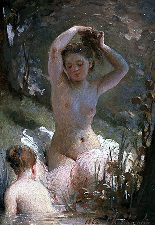 Two Girls Bathing :: Charles Chaplin - Nu in art and painting фото
