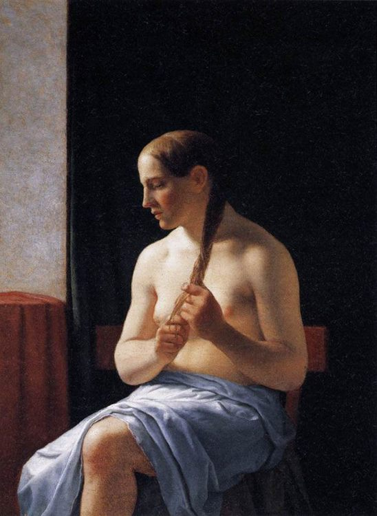 Seated Nude Model :: Christoffer Wilhelm Eckersberg - Nu in art and painting ôîòî