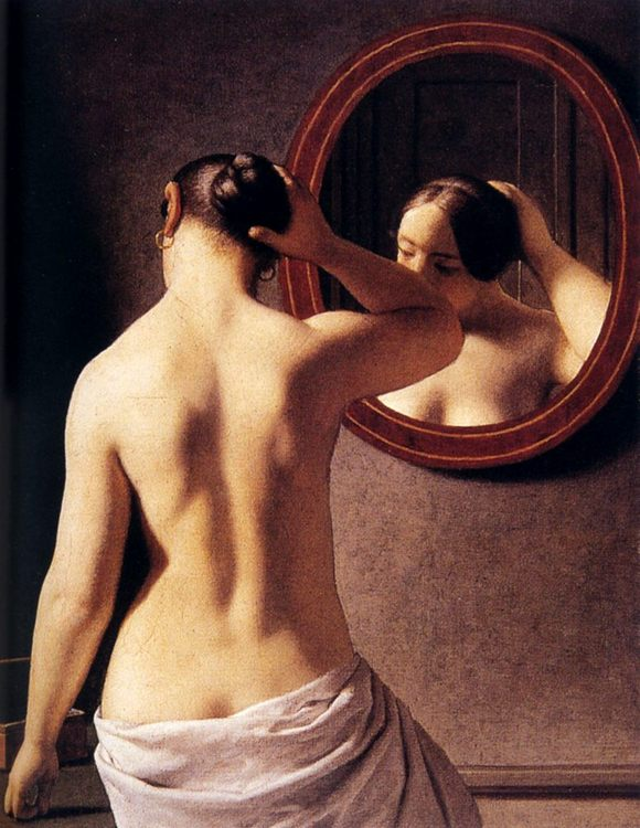 Woman Standing In Front Of A Mirror :: Christoffer Wilhelm Eckersberg - Nu in art and painting ôîòî