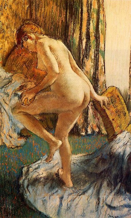 After the Bath Pastel on joined paper :: Edgar Degas - Nu in art and painting фото