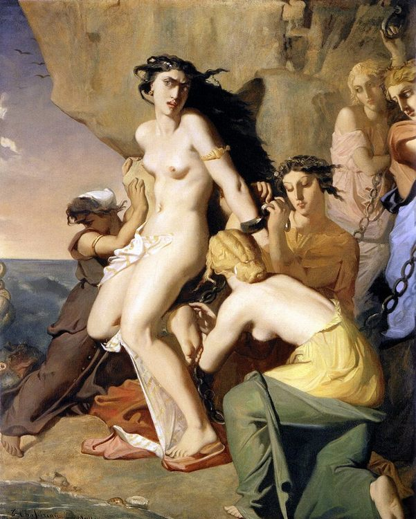 Andromeda Chained to the Rock by the Nereids :: Thiodore Chassiriau - nu art in mythology painting фото