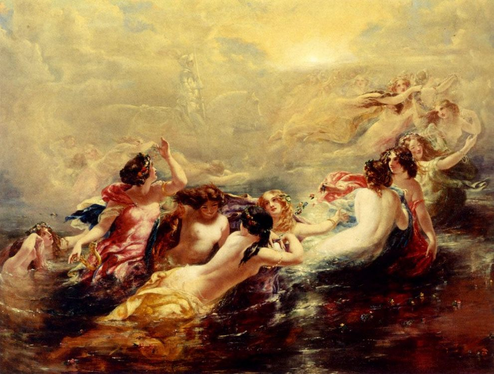 Sirens And The Night :: William Edward Frost - nu art in mythology painting ôîòî