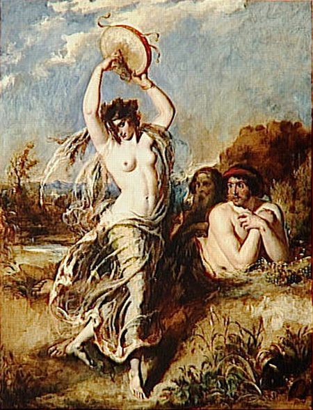 Bacchante Playing the Tambourine :: William Etty - nu art in mythology painting фото