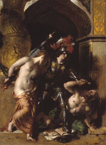 Britomart Redeems Fair Amoret :: William Etty - nu art in mythology painting фото
