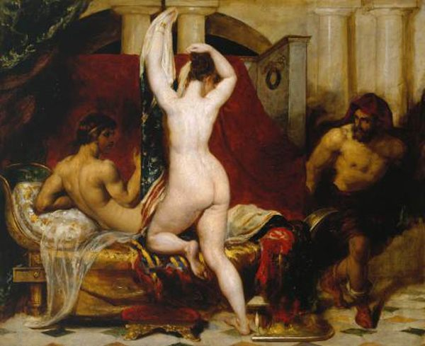 Candaules, King of Lydia, Shews his Wife by Stealth to Gyges, One of his Ministers, as She Goes to Bed :: William Etty  - nu art in mythology painting фото