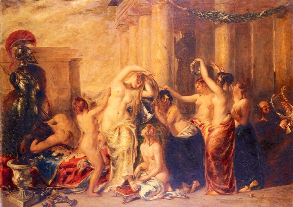 Venus And Her satellites :: William Etty  - nu art in mythology painting фото