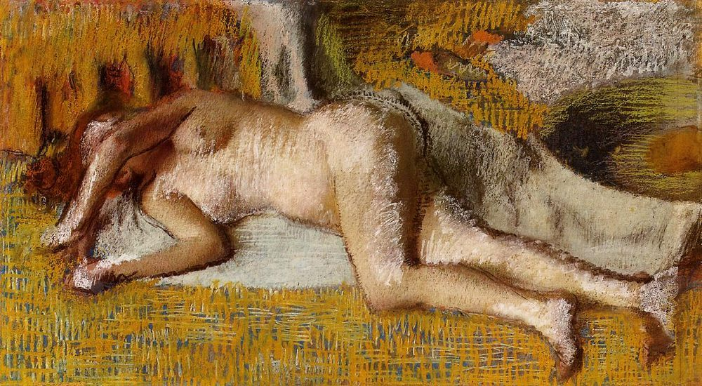 After the Bath Pastel on paper laid on board :: Edgar Degas - Nu in art and painting фото
