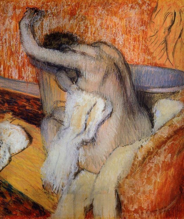 After the Bath, Woman Drying Herself Pastel on tracing paper :: Edgar Degas  - Nu in art and painting фото