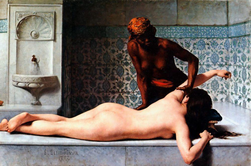 Le Massage scene de Hammam [The Massage in the Harem] :: Edouard Bernard Debat-Ponsan - Nu in art and painting ôîòî