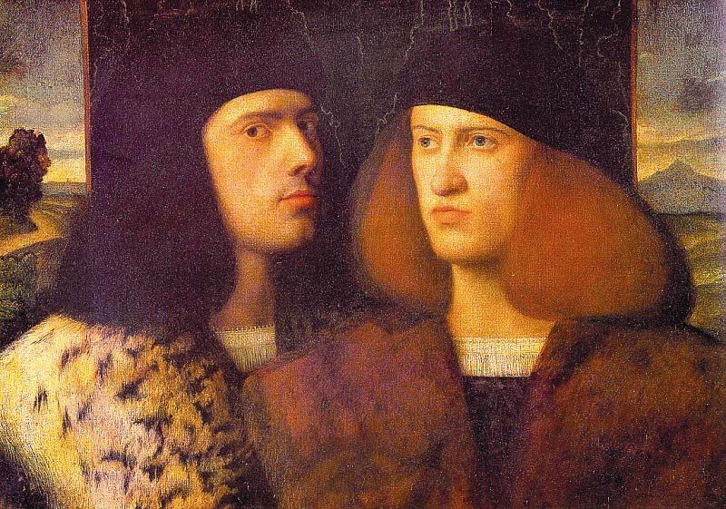 Portrait of Two Young Men :: Giovanni Cariani - men's portraits 16th century фото