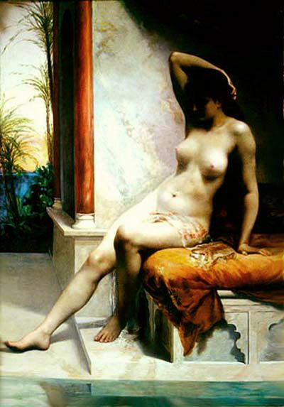 The bared girl at pool :: Emmanuel de Dieudonne - Nu in art and painting фото