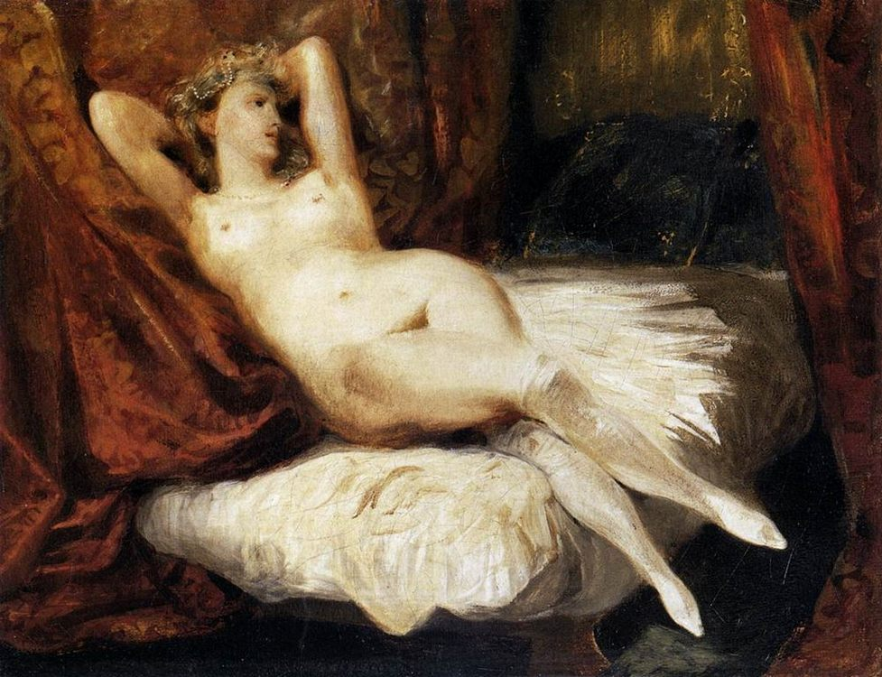Female Nude Reclining on a Divan :: Eugиne Delacroix - Nu in art and painting фото