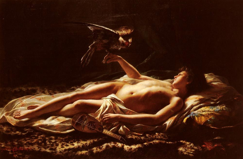 Nu Masculin Avec Faucon [Male Nude with Falcon] :: Germain Detanger - Nu in art and painting ôîòî