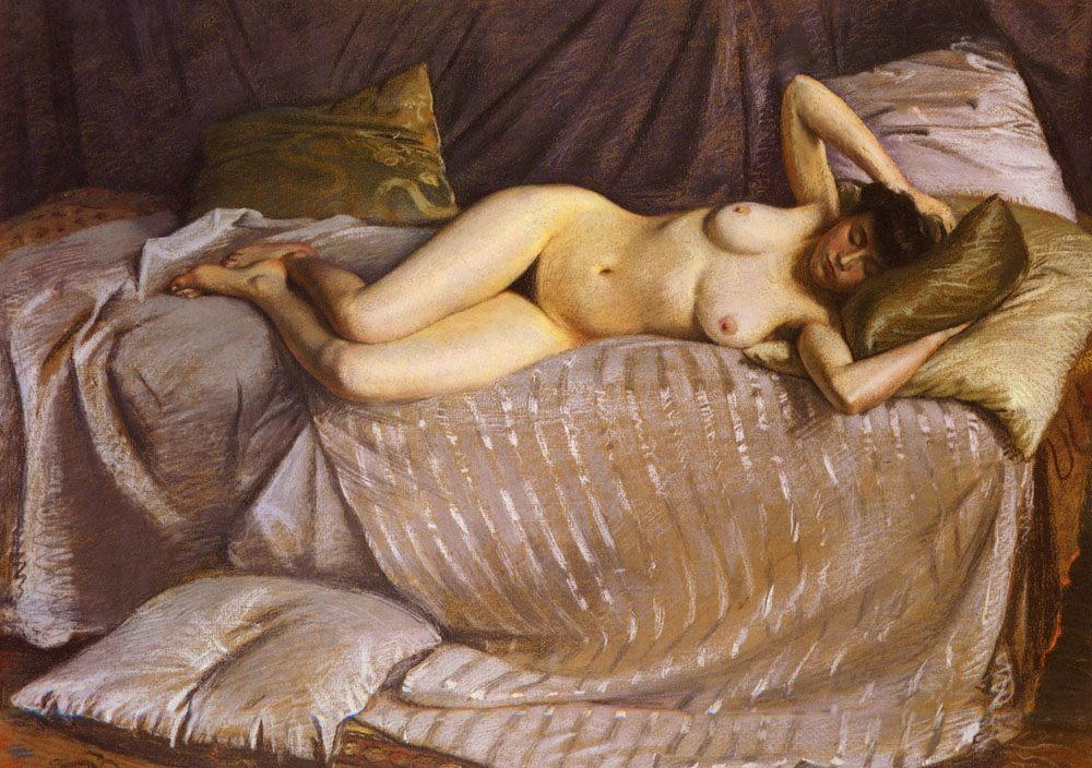 Femme Nue Etendue Sur Un Divan [Naked Woman Lying on a Couch] Pastel on paper :: Gustave Caillebotte - Nu in art and painting ôîòî