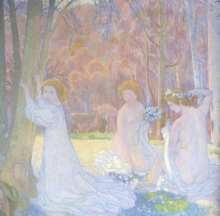 In A Spring Landscape (Sacred Grove) :: Maurice Denis Figures - Nu in art and painting фото
