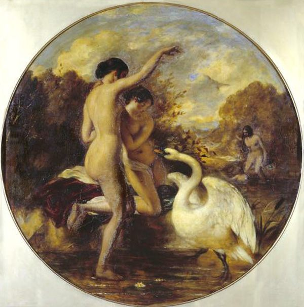 Female Nude Bathers Surprised by a Swan :: William Etty  - Nu in art and painting фото