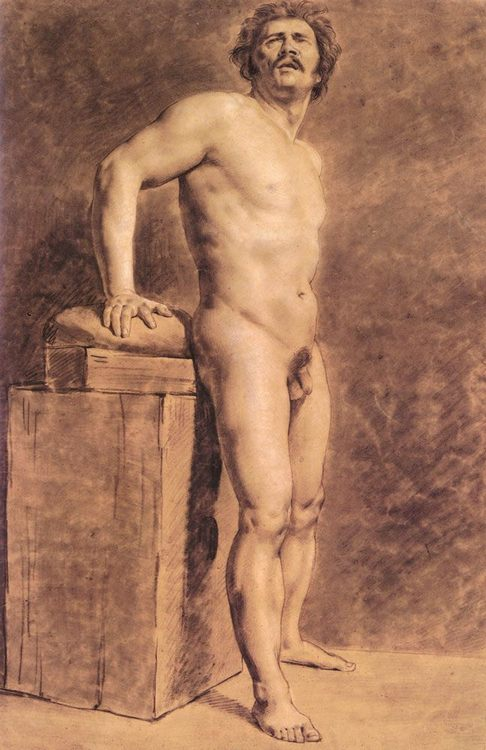 Male Academy Figure, probably Polonais :: Eugune Delacroix - nude men фото