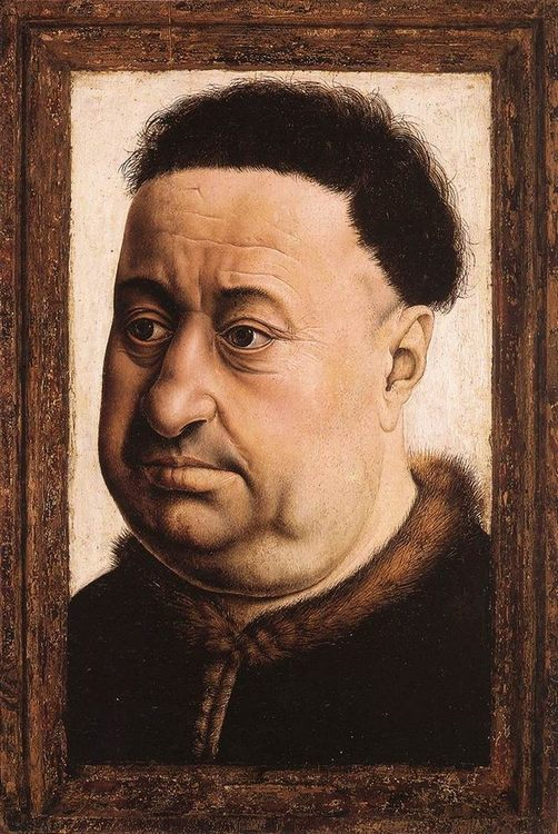 Portrait of a Fat Man :: Robert Campin  - men's portraits 15th century hall фото