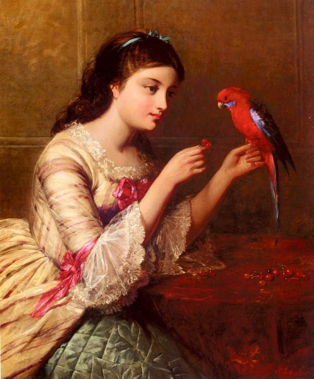 An Attentive Friend :: Edward John Cobbett - 6 woman's portraits hall ( The middle of 19 centuries ) in art and painting ôîòî