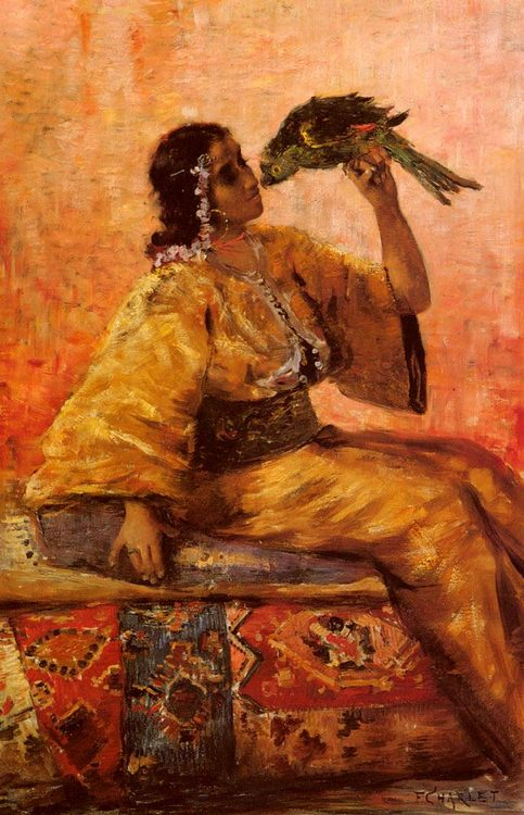A Moroccan Beauty Holding A Parrot  :: Frantz Charlet - Arab women ( Harem Life scenes ) in art  and painting фото