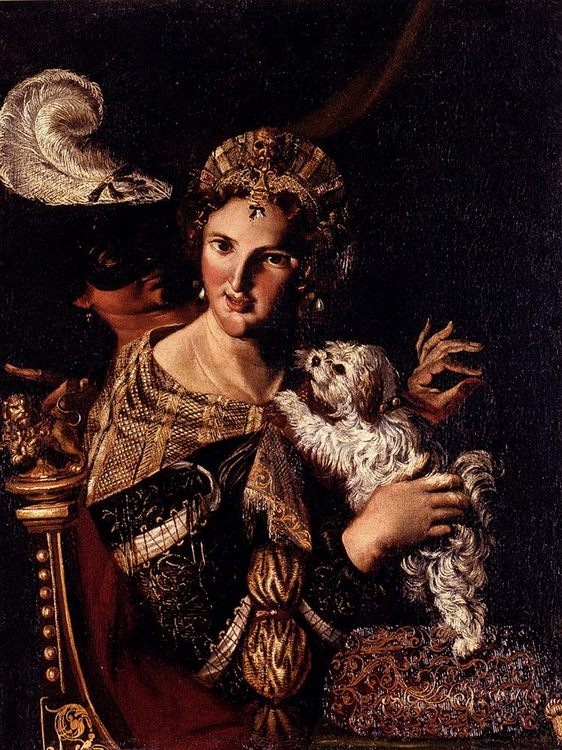 A Lady With Her Dog, An Allegory :: Angelo Caroselli  - 2 women portraits 16th century hall фото