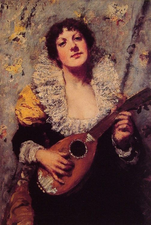 The Mandolin Player :: William Merritt Chase - 7 female portraits ( the end of 19 centuries ) in art and painting фото
