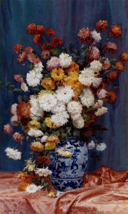 Mums In A Porcelain Vase :: Adolphe Louis Castex-Degrange - flowers in painting фото