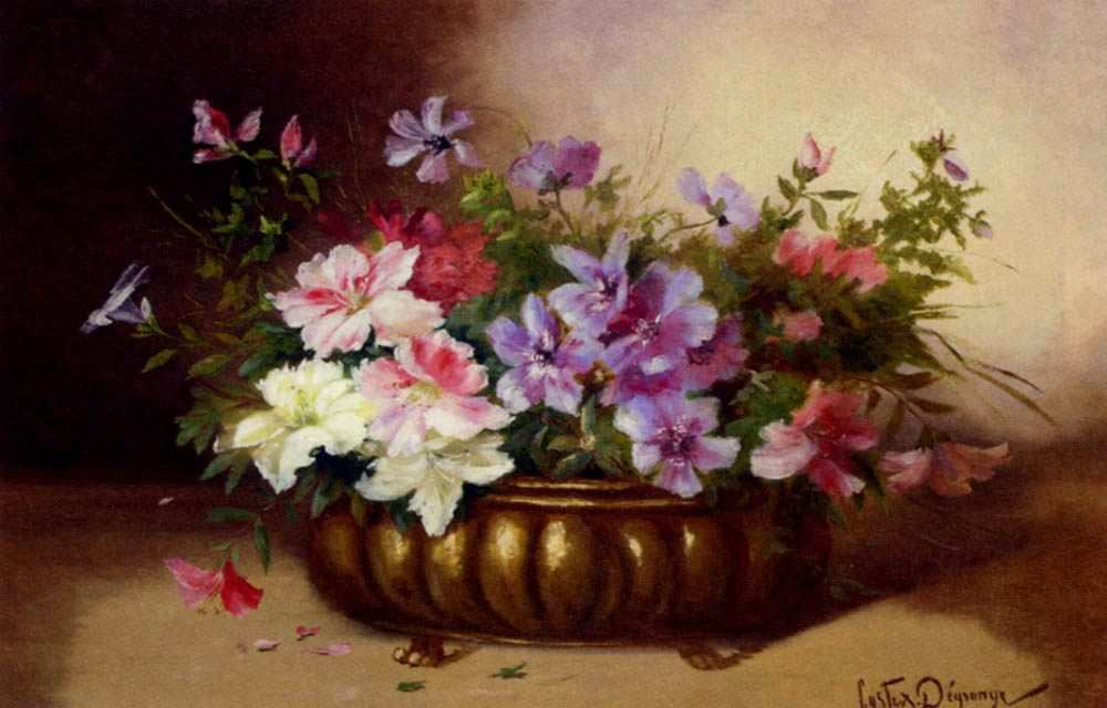 Summer Blooms in an Urn :: Adolphe Louis Castex-Degrange - flowers in painting ôîòî