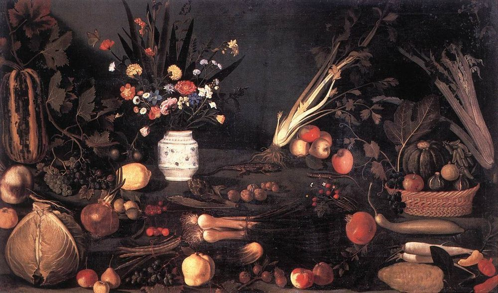 Still Life with Flowers and Fruit :: Caravaggio  - flowers in painting фото