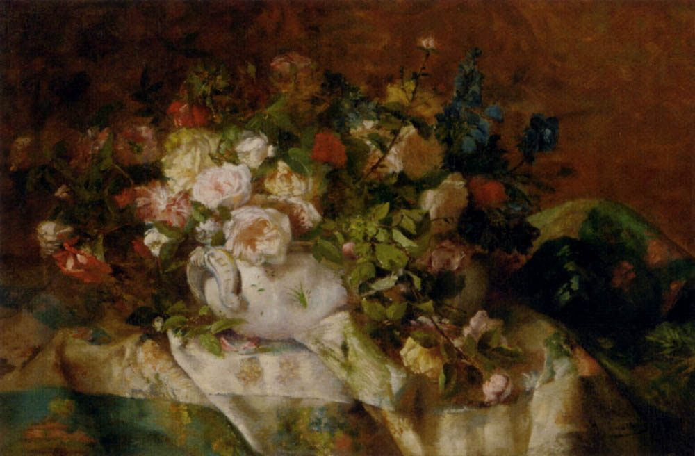 A Summer Bouquet  :: Eugene Henri Cauchois - flowers in painting фото