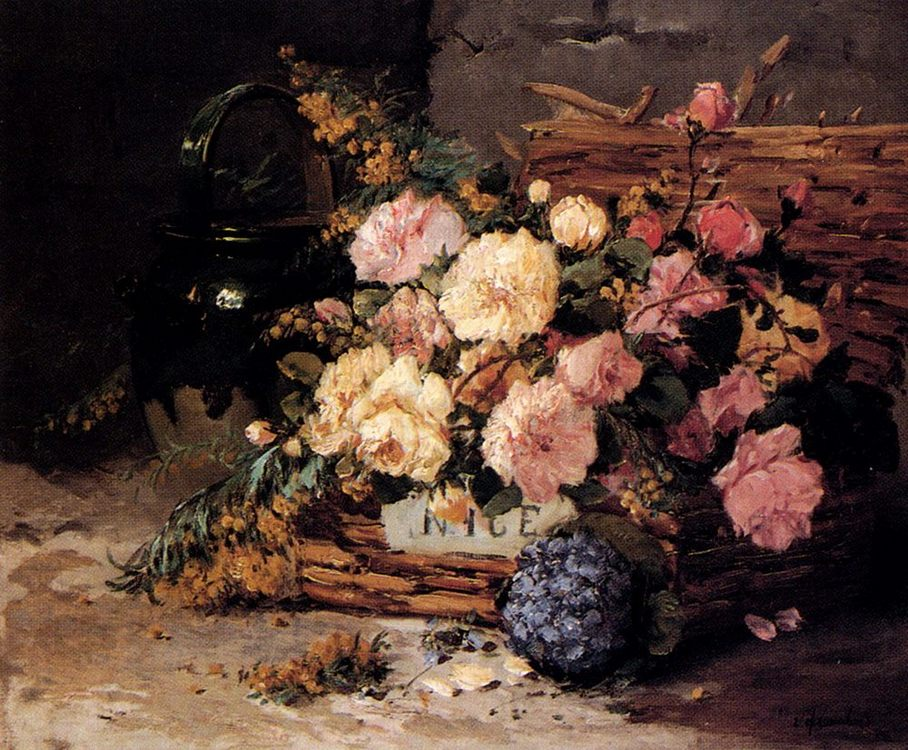 Floral Still Life Of Spring And Autumn :: Eugene Henri Cauchois - flowers in painting фото