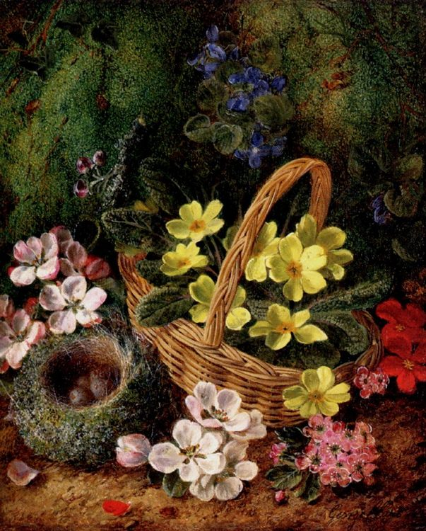 Apple Blossom And A Bird's Nest On A Mossy Bank :: George Clare  - flowers in painting ôîòî