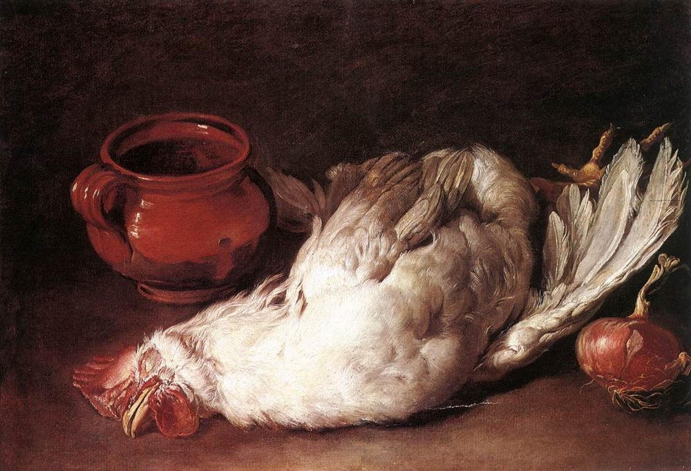 Still-Life with Hen, Onion and Pot :: Giacomo Ceruti - Still life фото