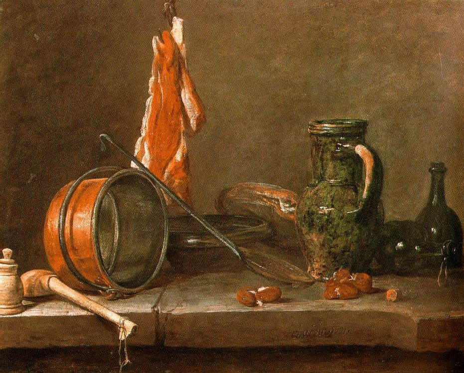 A Lean Diet with Cooking Utensils :: Jean-Baptiste-Simeon Chardin - Still Lifes ôîòî