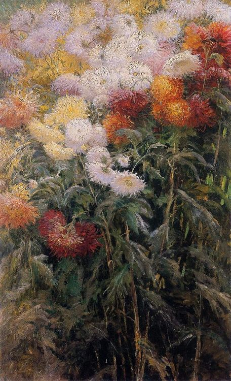 Clump of Chrysanthemums :: Gustave Caillebotte - flowers in painting фото