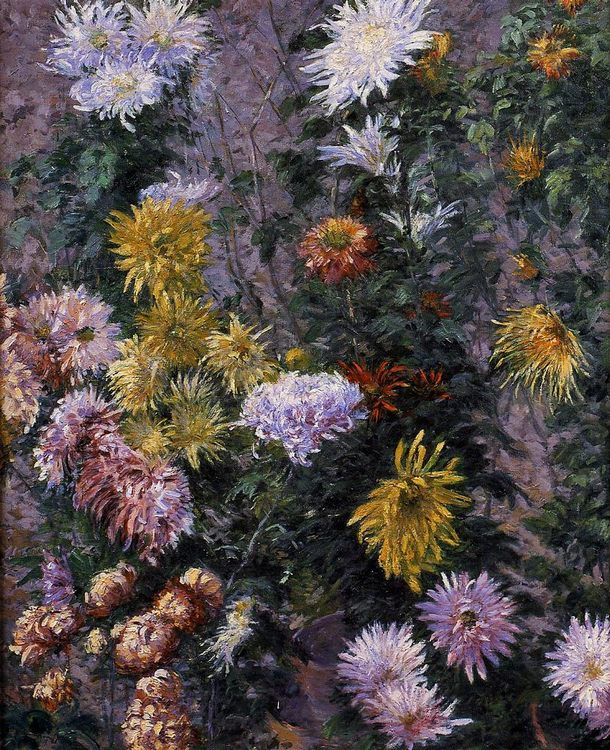 White and Yellow Chrysanthemums :: Gustave Caillebotte - flowers in painting фото