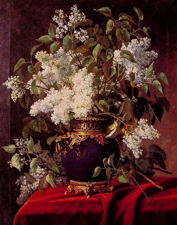 White Lilacs :: Jean Capeinick  - flowers in painting фото