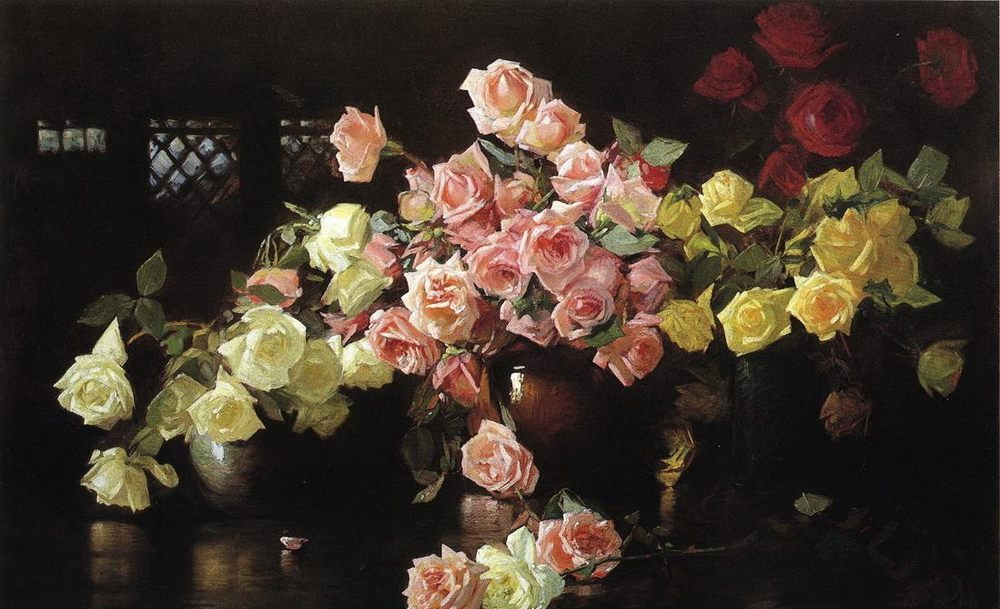 Roses :: Joseph Rodefer de Camp - flowers in painting ôîòî