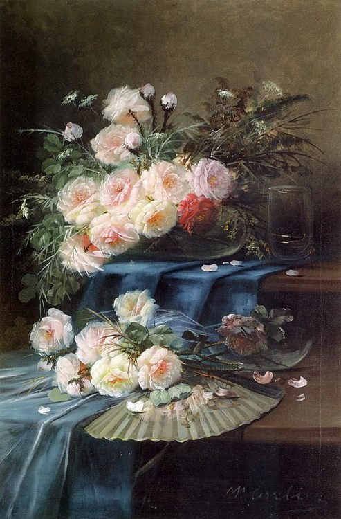 Fan and a Glass on Draped Table :: Max Carlier Flowers - flowers in painting ôîòî