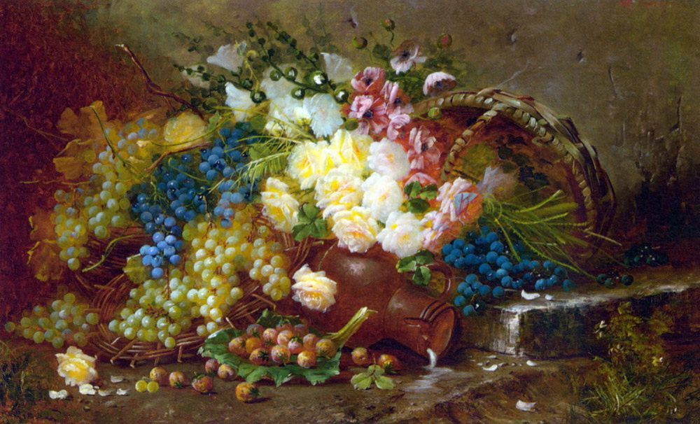 Still Life with Grapes and Roses :: Max Carlier - flowers in painting фото
