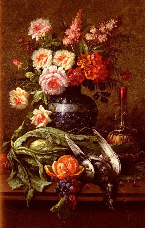 Nature Morte Aux Fleurs Et A Lorange :: Modeste Carlier - flowers in painting фото