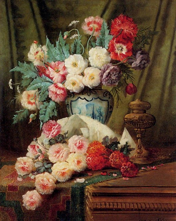 Still Life Of Roses And Other Flowers On A Draped Table :: Modeste Carlier  - flowers in painting фото