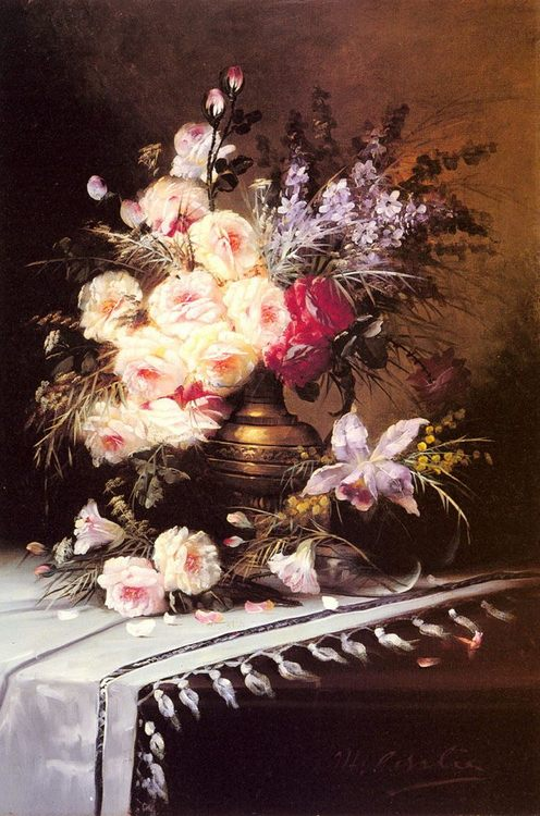 Still Life with Assorted Flowers in a Brass Vase :: Modeste Carlier - flowers in painting ôîòî