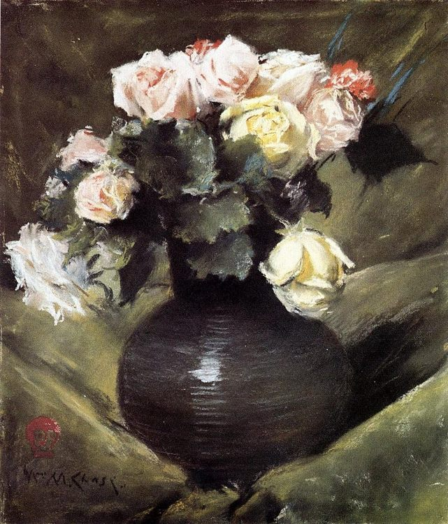Flowers Pastel on paper ::William Merritt Chase  - flowers in painting фото